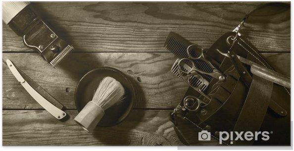 Póster Conjunto de la vendimia de la sepia Barbershop.Toning - Estilo de vida