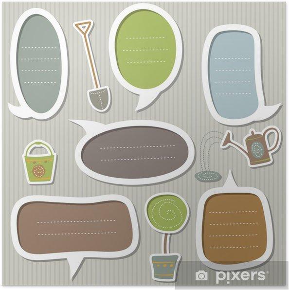 Póster Conjunto de marcos de texto decorados por tema del jardín - Casa y jardín