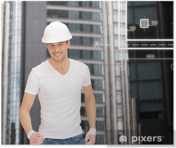 Poster Constructeur beau dans le casque blanc - Métiers