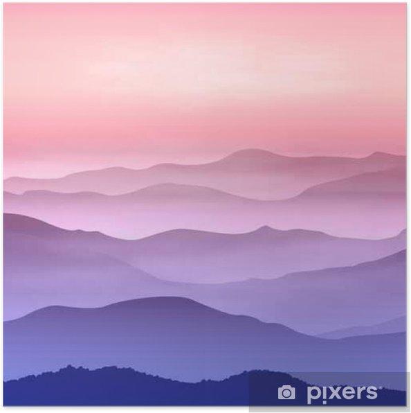 Poster Contexte avec les montagnes dans le brouillard. Temps de coucher du soleil. - Landscapes
