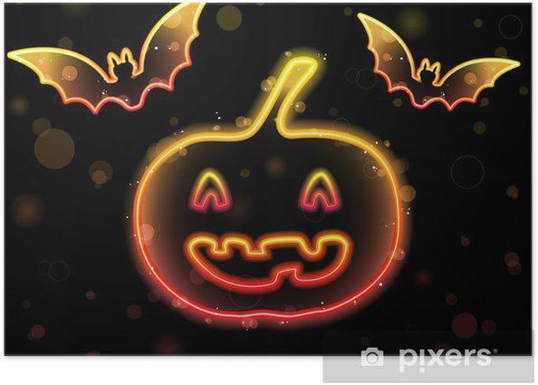 Poster Contexte Halloween Neon au potiron et chauves-souris - Mammifères
