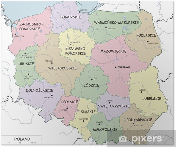Contour Map Of Poland With Voivodeships Rivers And Lakes Poster