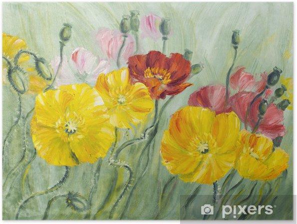 Poster Coquelicots, peinture à l'huile sur toile - Fleurs
