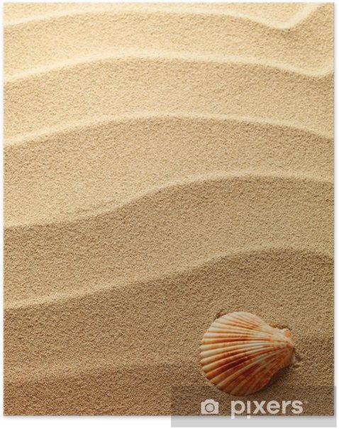 Poster Coquillages avec du sable comme toile de fond - Textures