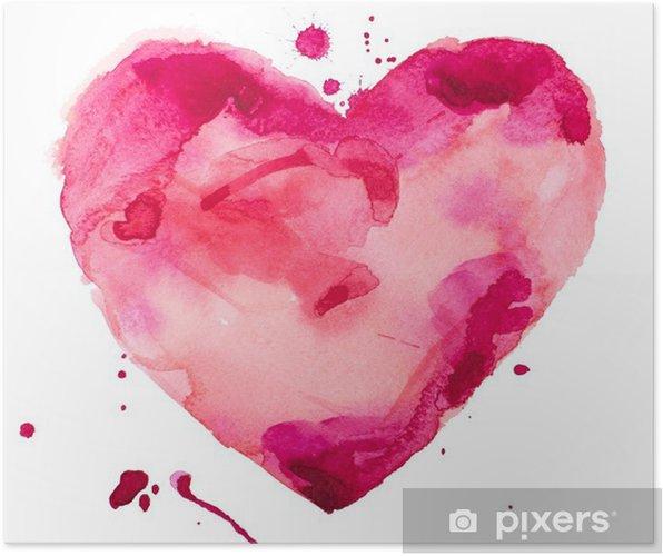 Póster Corazón acuarela. Concepto - el amor, la relación, el arte, la pintura - concepto