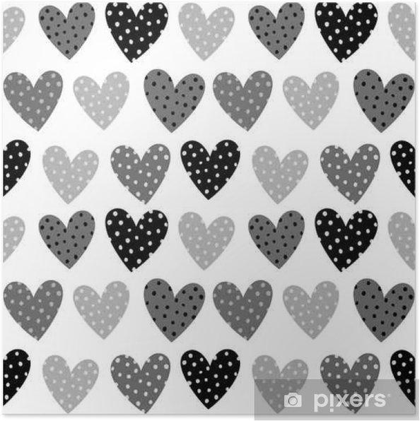 Póster Corazones grises lindos con patrones sin fisuras de puntos ...