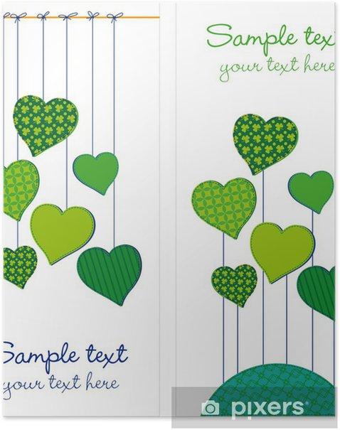 Póster Corazones Tarjetas verdes - Texturas