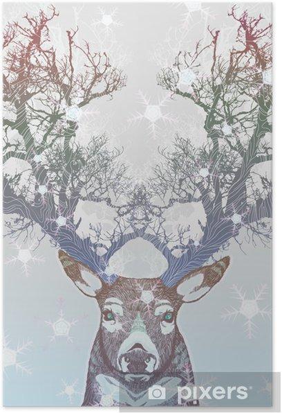 Poster Corne Frozen arbre cerf -