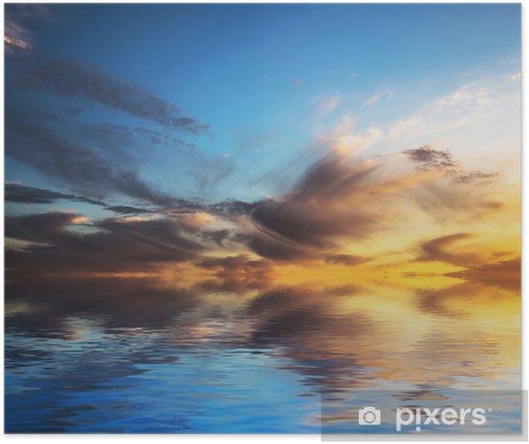 Poster Coucher de soleil avec des nuages dans l'eau. - Thèmes