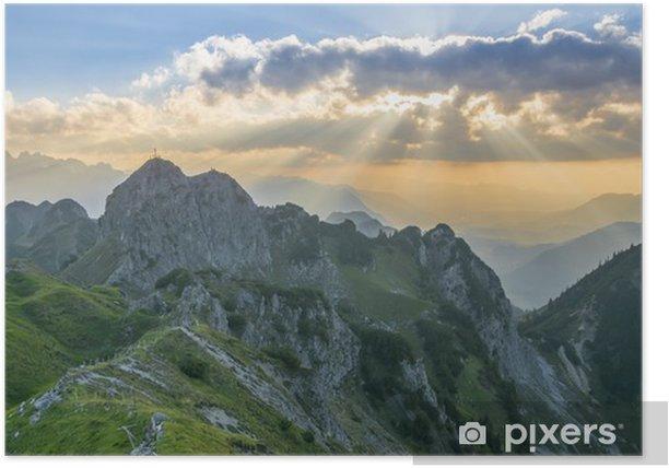 Poster Coucher de soleil dans les montagnes - Europe