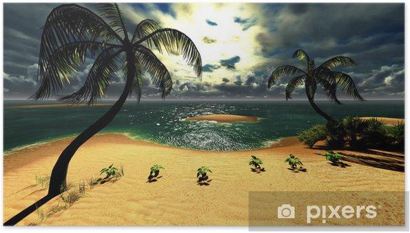 Poster Coucher de soleil dans un paradis tropical d'Hawaï - Nature et régions sauvages