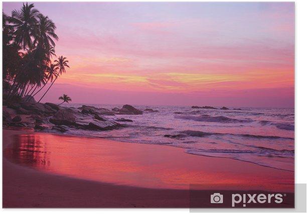 Poster Coucher de soleil et plage tropicale - Eau