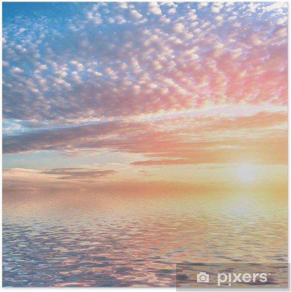 Poster Coucher de soleil spectaculaire avec des nuages dans l'eau. - Thèmes