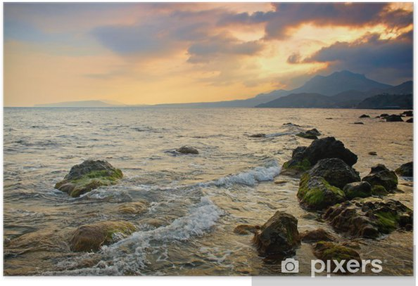 Poster Coucher de soleil spectaculaire sur la mer - Eau