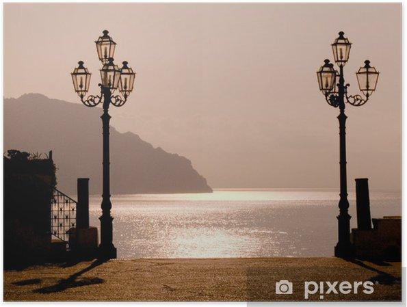 Poster Coucher de soleil sur la côte d'Amalfi - Vacances