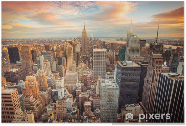 Poster Coucher de soleil sur New York donnant sur le centre de Manhattan -