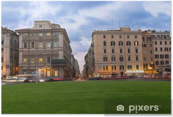 Poster Coucher de soleil vue de la Piazza Venezia, Via del Corco à Rome - Villes européennes