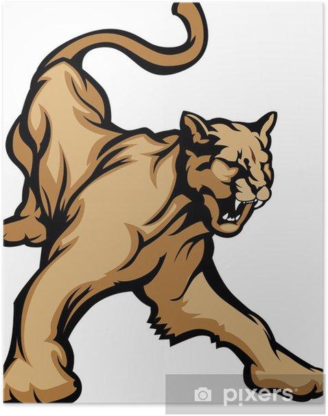 Cougar Mascot Body Vector Illustration Poster - Mammals
