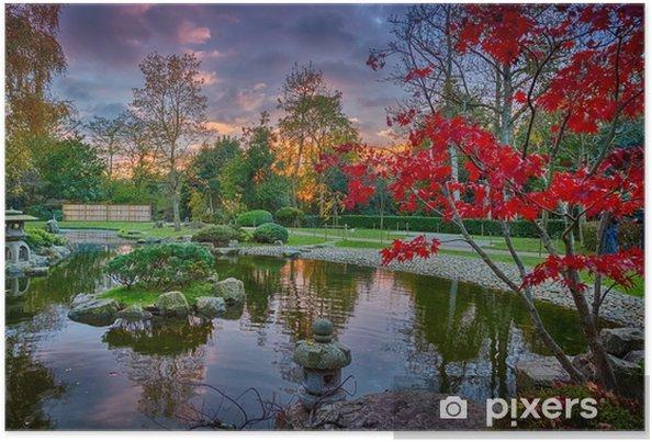 Poster Coup de soleil montrant les détails exquis de jardins japonais  luxuriants, y compris une fontaine au début de l\'automne