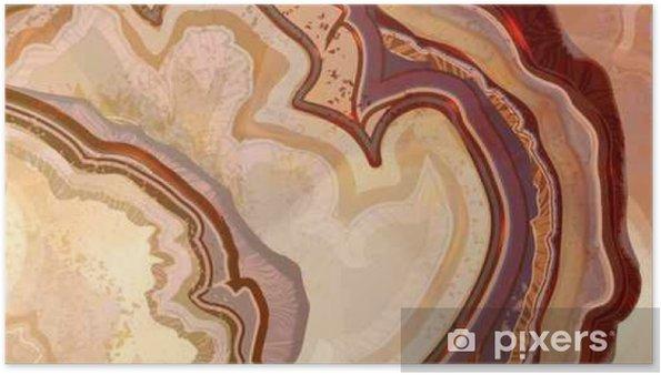Poster Coupe transversale du cristal d'agate, texture abstraite, structure d'agate légère, fond de marbre. Illustration dessinée à la main, dessin aquarelle. - Ressources graphiques