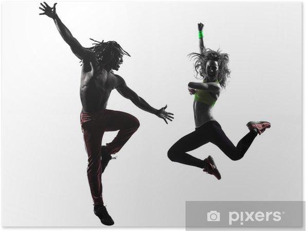 Poster Couple homme et femme dans l exercice de fitness zumba danse  silhouette c5a85286f18