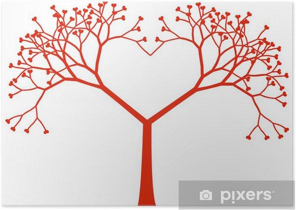 Poster Cœur de l'arbre, vecteur - Bonheur