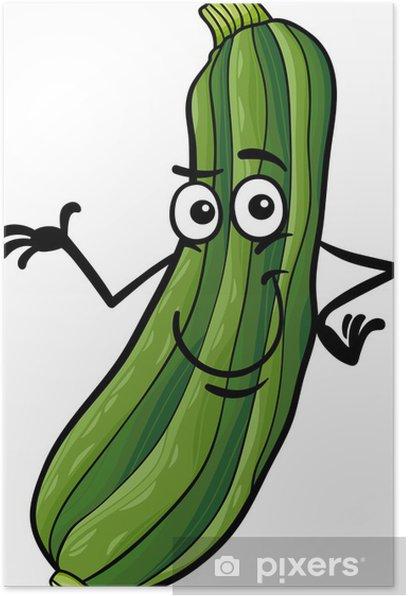 Poster Courgettes drôle illustration de bande dessinée de légumes - Repas