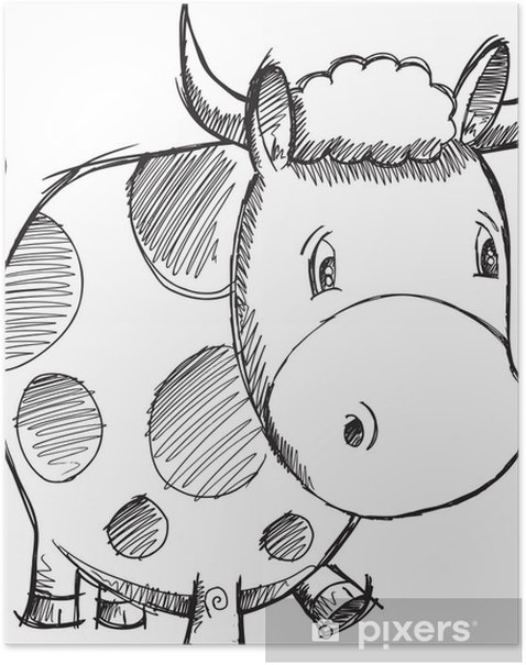 Cow Sketch Doodle Vector Illustration Art Poster - Mammals