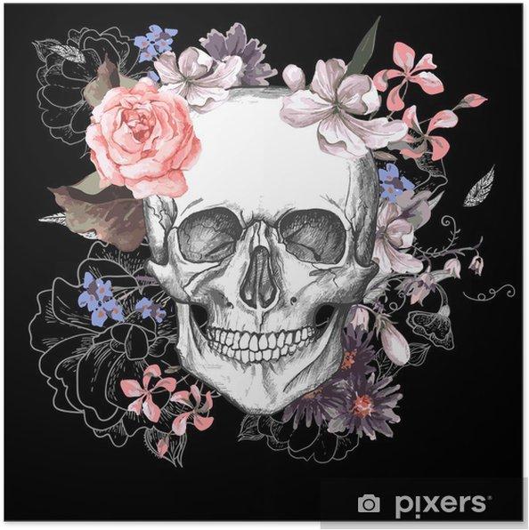 Poster Crâne et fleurs jour des morts - Concept