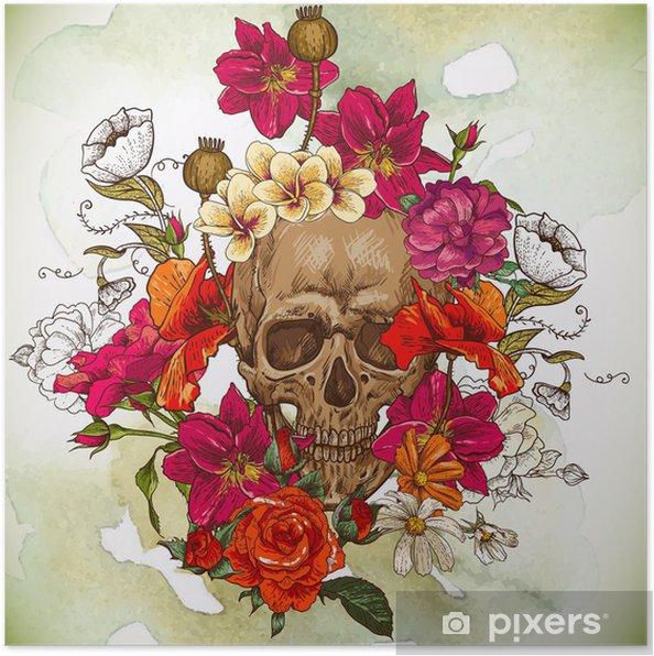 Poster Crâne et fleurs jour des morts - Fleurs