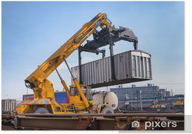 Crane lifts a container loading a train Poster
