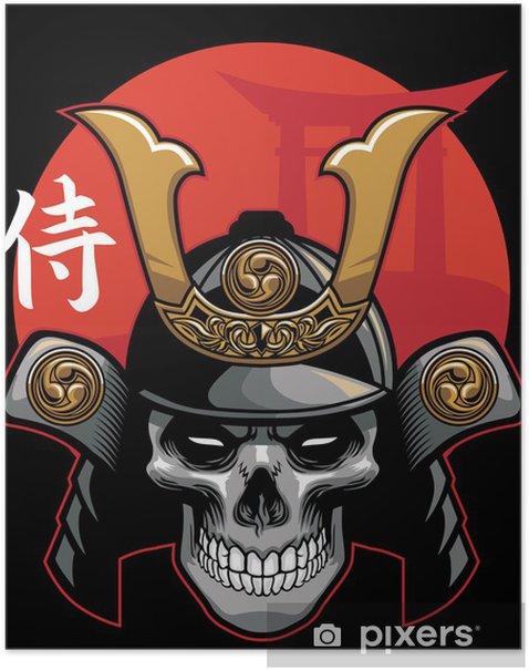 Poster Crâne portant une armure de samouraï - Asie