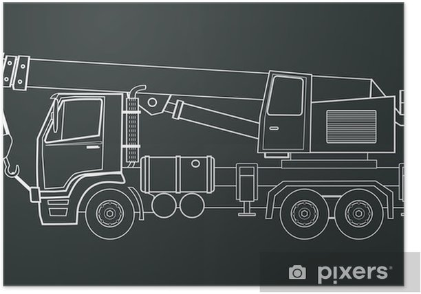 Crane truck vector Poster - Machinery