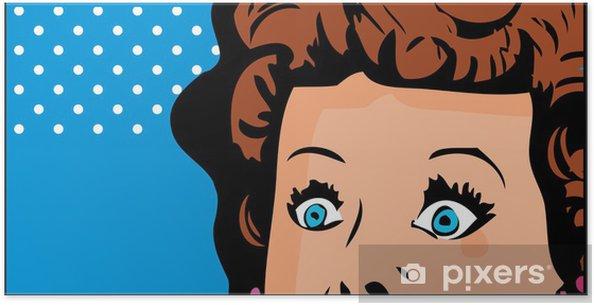 Poster Cropped visage de femme pop art bannière bande dessinée avec les yeux grands ouverts - Thèmes