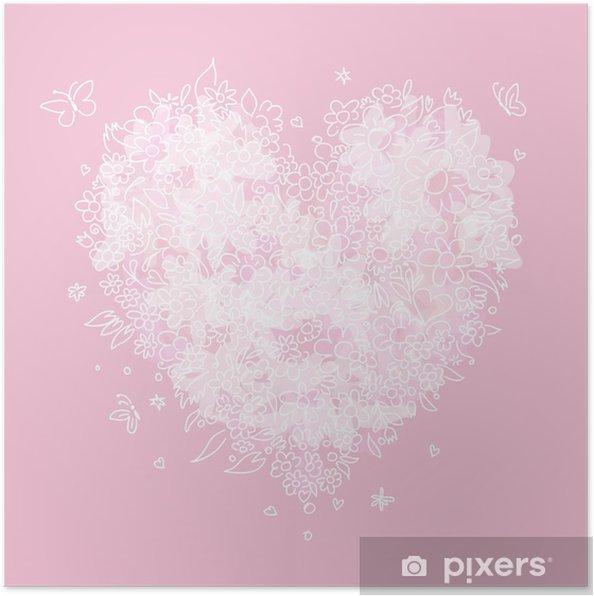 Poster Croquis de forme de coeur floral pour votre conception - Fêtes internationales