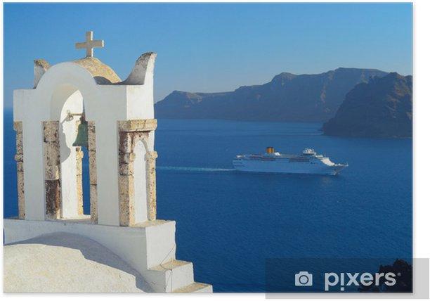 Cruise ship in caldera in Oia, Santorini, Cyclades, Greece Poster - Europe