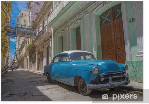 Cuba blue car Poster - Cuba