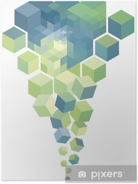 Poster Cubes 3d abstrait, fond vectoriel - Arrière plans