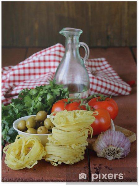 Poster Cuisine Italienne Encore La Vie Des Pates De L Huile D