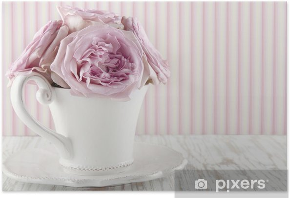 Cup filled with a bouquet of pink roses Poster - Flowers