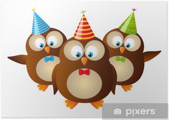 cute birthday owls isolated on white poster pixers we live to