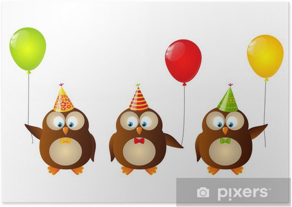 cute birthday owls with balloons poster pixers we live to change