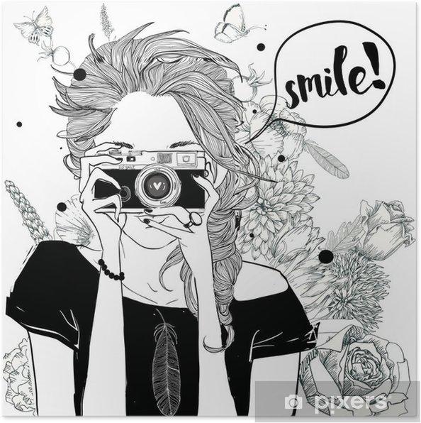 Poster Cute cartoon meisje - Levensstijl
