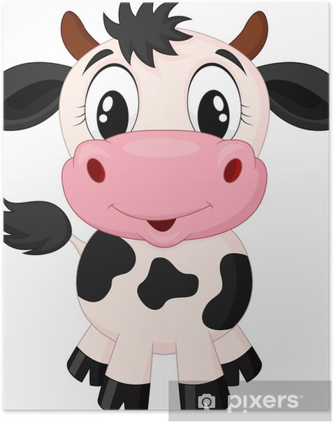 Cute cow cartoon Poster - Wall decals