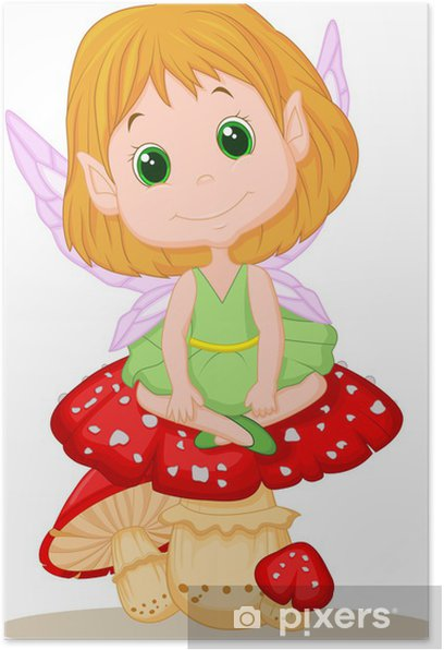 Poster Cute fairy assis sur le champignon - Sticker mural