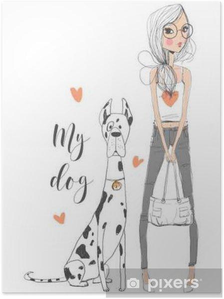 Poster Cute girl avec un chien - Style de vie