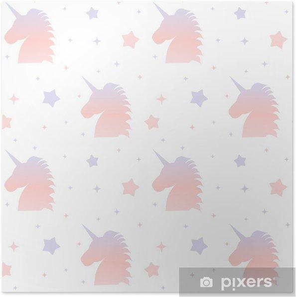 cute gradient unicorn silhouette seamless pattern background illustration  Poster