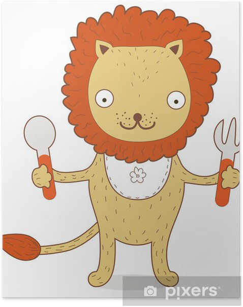 Cute Lion Cub wants to eat something testy Poster - Mammals