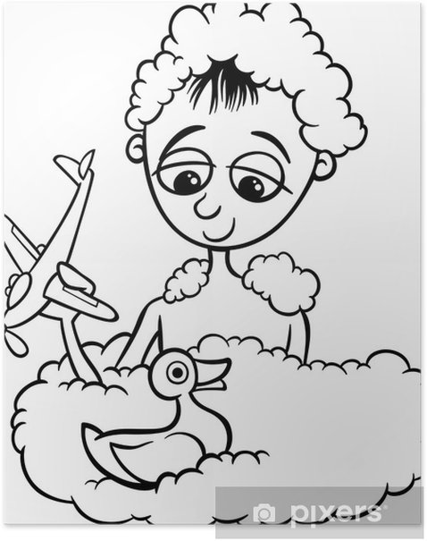 cute little boy in bath coloring page Poster