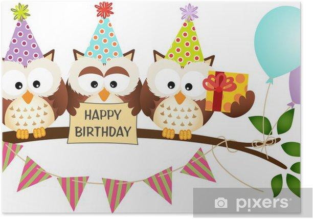 Cute Three Owls Happy Birthday Poster - Celebrations